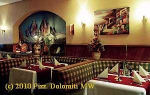Das Geschmackvoll eingerichtete Restaurant der Pizzeria Dolomiti in Mittweida